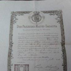 Documentos antiguos: CERTIFICADO MEDALLA JURA ALFONSO XIII. Lote 87429812
