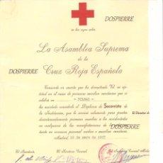 Documentos antiguos: DIPLOMA CRUZ ROJA ESPAÑOLA, DIPLOMA DE SOCORRISTA, 1967. Lote 87547832