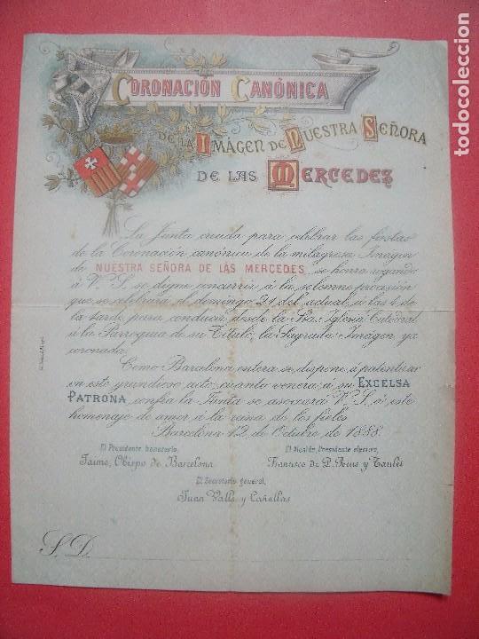 NUESTRA SEÑORA DE LAS MERCEDES.-CORONACION CANONICA.-FRANCISCO DE L. RIUS Y TAULET.-BARCELONA.-1888. (Coleccionismo - Documentos - Otros documentos)