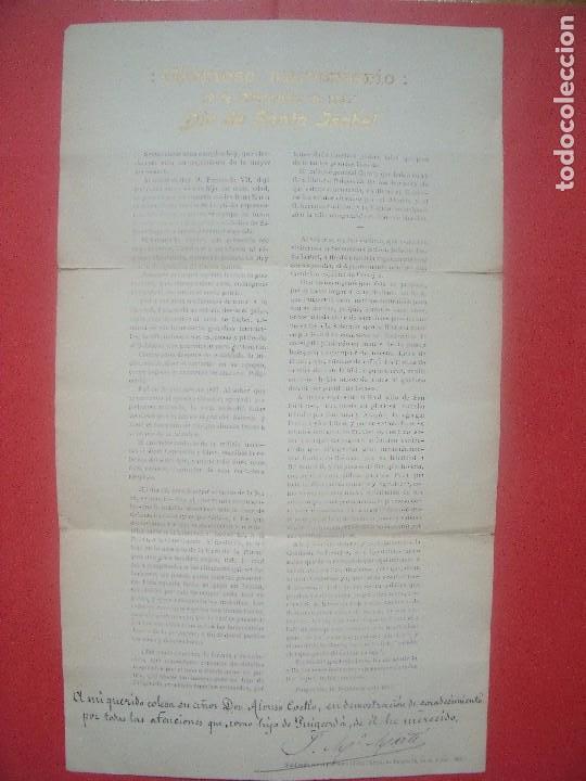 ALONSO COELLO.-PUIGCERDA.-BARCELONA.-GLORIOSO ANIVERSARIO.-DIA DE SANTA ISABEL.-AÑO 1912. (Coleccionismo - Documentos - Otros documentos)