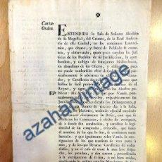 Documentos antiguos: SEVILLA,1764, CARTA ORDEN EMITIDA A LA VILLA DE CASTILLEJA DE GUZMAN PARA EVITAR EL ROBO DE GANADO. Lote 88753332