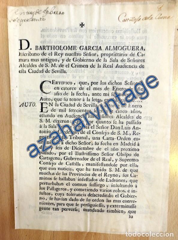 CARTA ORDEN DIRIGIDA A CASTILLEJA DE LA CUESTA,1765, PARA EXTERMINIO DE LADRONES DE CAMINOS,3 PAGINA (Coleccionismo - Documentos - Otros documentos)