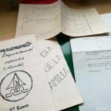 Documentos antiguos: LOTE DE DOCUMENTOS DEL CAMPAMENTO MIGUEL DE CERVANTES. MORAIRA (ALICANTE). 22 DE JULIO 1968. Lote 89372254