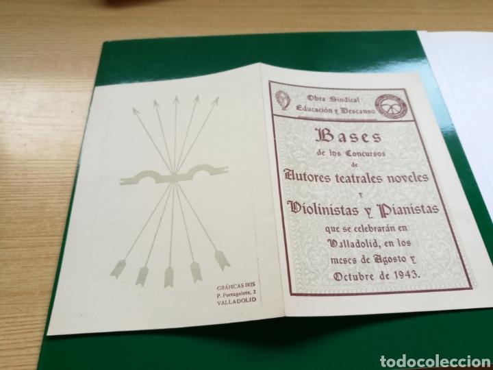 PROGRAMA CONCURSO AUTORES TEATRALES, VIOLINISTAS Y PIANISTAS. EDUCACIÓN Y DESCANSO. VALLADOLID. 1943 (Coleccionismo - Documentos - Otros documentos)