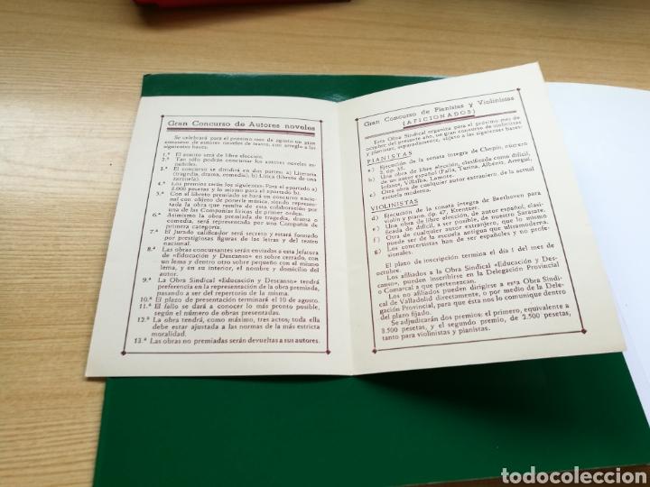 Documentos antiguos: Programa concurso autores teatrales, violinistas y pianistas. Educación y Descanso. Valladolid. 1943 - Foto 2 - 89373775
