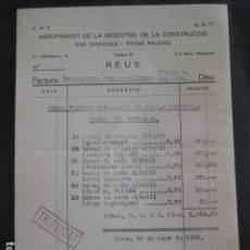 Documentos antiguos: REUS - AGRUPAMENT INDUSTRIA I CONSTRUCCIO - CNT UGT- GUERRA CIVIL - 20 MAYO 1938 - (V-11.450). Lote 89374488
