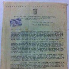 Documentos antiguos: 1954 II JORNADA LITERATURA HISPÁNICA MADRID. INSTITUTO CULTURA HISPÁNICA A R. CARRASQUEL EN VENEZUEL. Lote 89443056