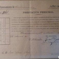 Documentos antiguos: AYUNTAMIENTO DE TORREMANZANAS 1904. Lote 89458118