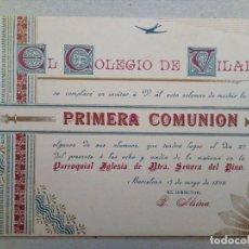 Documentos antiguos: BARCELONA 1899. INVITACION PRIMERA COMUNION DEL COLEGIO DE VILAR.. Lote 89604564