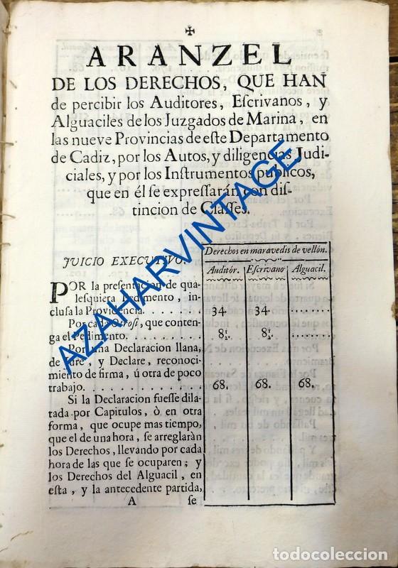 CADIZ, 1754, ARANCEL DE LOS DERECHOS QUE HAN DE PERCIBIR LOS AUDITORES,ESCRIVANOS Y ALGUACILES,20 PG (Coleccionismo - Documentos - Otros documentos)