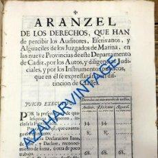 Documentos antiguos: CADIZ, 1754, ARANCEL DE LOS DERECHOS QUE HAN DE PERCIBIR LOS AUDITORES,ESCRIVANOS Y ALGUACILES,20 PG. Lote 89644376
