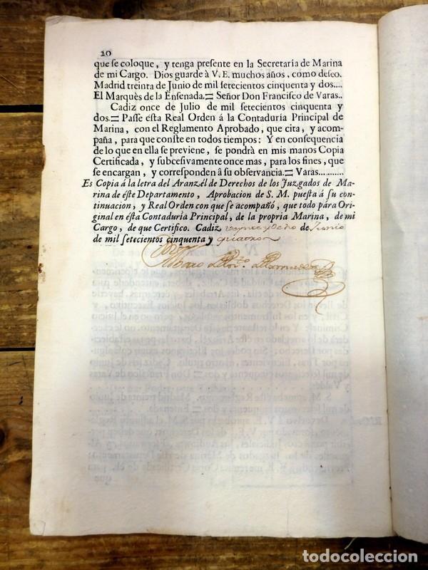 Documentos antiguos: CADIZ, 1754, ARANCEL DE LOS DERECHOS QUE HAN DE PERCIBIR LOS AUDITORES,ESCRIVANOS Y ALGUACILES,20 PG - Foto 2 - 89644376