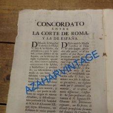 Documentos antiguos: CONCORDATO ENTRE LA CORTE DE ROMA Y LA DE ESPAÑA,1737,56 PAGINAS, LEER ESTADO. Lote 89760548