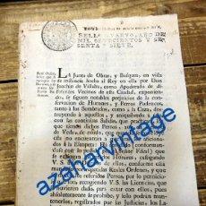 Documentos antiguos: CAZA, REAL ORDEN DADA EN 1767 PARA LA EXTINCION DE HURONES Y PERROS PODENCOS, 2 HOJAS. Lote 90332272