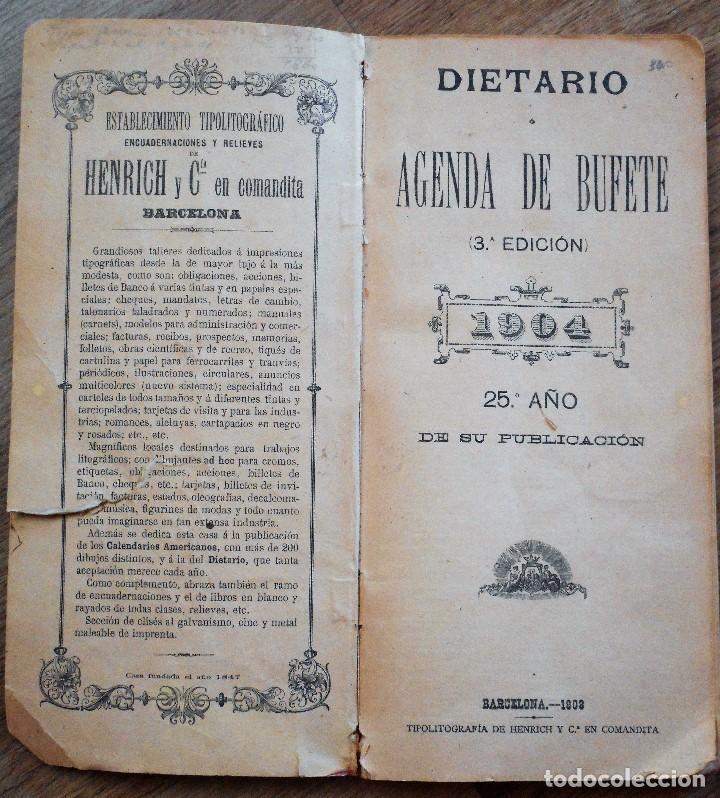 Documentos antiguos: DIETARIO ECONÓMICO AGENDA DE BUFETE PARA 1904 - HENRICH Y C. BARCELONA - Foto 2 - 90351600