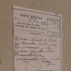Documentos antiguos: ANTIGUO RESGUARDO DE GIRO POSTAL DE LA REPÚBLICA (1934).. Lote 90532547