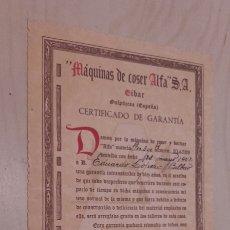 Documentos antiguos: MÁQUINA DE COSER ALFA. CERTIFICADO DE GARANTÍA. EIBAR 28/5/1942.. Lote 90598903