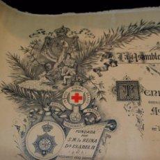 Documentos antiguos: ANTIGUO DIPLOMA, MEDALLA DE ORO, CONCEDIDA POR LA ASAMBLEA SUPREMA DE LA CRUZ ROJA ESPAÑOLA, 1929. Lote 90624500