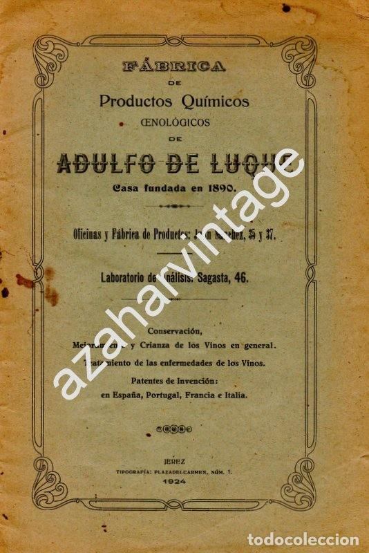 Documentos antiguos: JEREZ DE LA FRONTERA, 1924, FABRICA PRODUCTOS QUIMICOS ADULFO DE LUQUE, 20 PAGINAS - Foto 1 - 161094572