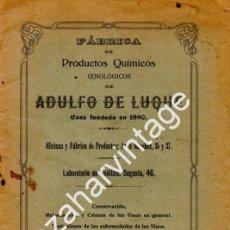 Documentos antiguos: JEREZ DE LA FRONTERA, 1924, FABRICA PRODUCTOS QUIMICOS ADULFO DE LUQUE, 20 PAGINAS. Lote 161094572