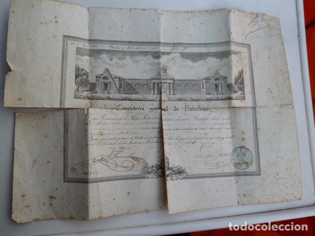 DOCUMENTO TITULO DE CEMENTERIO GENERAL DE BARCELONA DE 1800 (Coleccionismo - Documentos - Otros documentos)