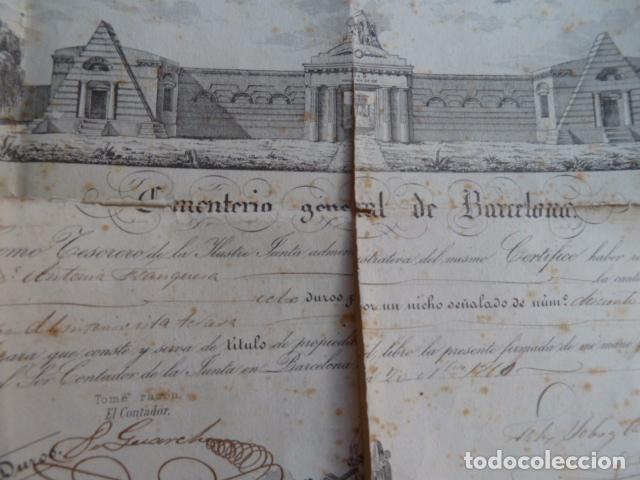 Documentos antiguos: DOCUMENTO TITULO DE CEMENTERIO GENERAL DE BARCELONA DE 1800 - Foto 2 - 91048660