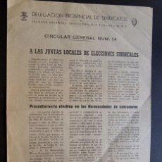 Documentos antiguos: TERUEL 1944 / DELEGACION SINDICATOS ( FALANGE ) ELECCIONES EN HERMANDADES DE LABRADORES. Lote 91117400