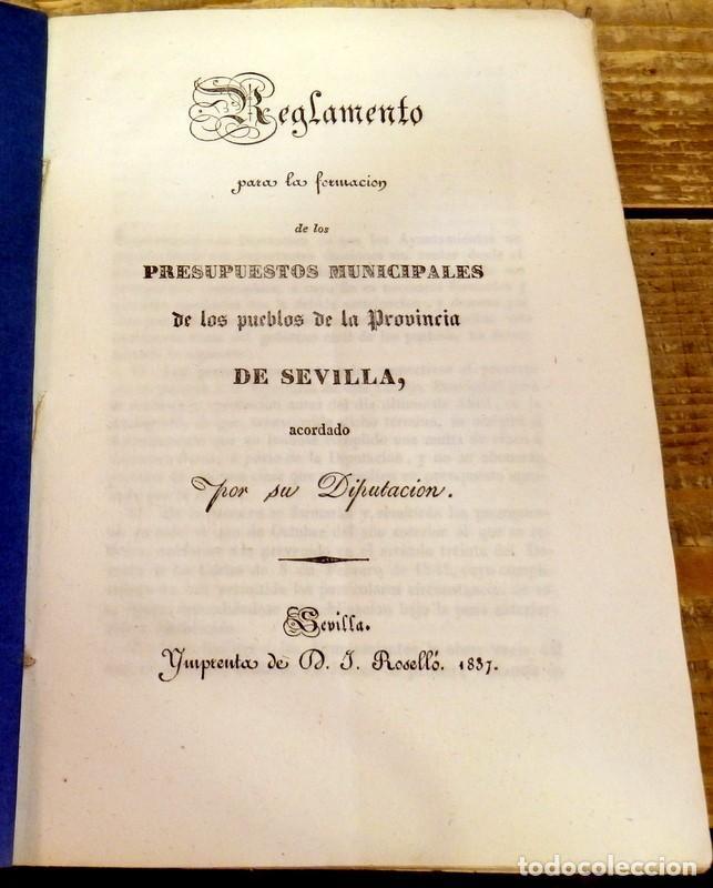 SEVILLA, 1837, REGLAMENTO PARA LA FORMACION DE PRESUPUESTO MUNICIPALES, PUEBLOS DE SEVILLA (Coleccionismo - Documentos - Otros documentos)