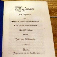 Documentos antiguos: SEVILLA, 1837, REGLAMENTO PARA LA FORMACION DE PRESUPUESTO MUNICIPALES, PUEBLOS DE SEVILLA. Lote 91144885
