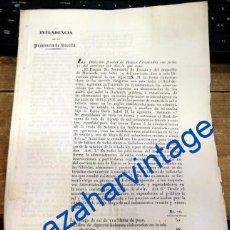 Documentos antiguos: SEVILLA, 1839, ISABEL II, DECRETO FIJANDO PRECIO Y CONDICIONES VENTAS DE SAL Y TABACO, 3 HOJAS. Lote 91237360