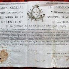 Documentos antiguos: CARTA DE HERMANDAD DE LOS TRINITARIOS DE JEREZ DE LA FRONTERA, CÁDIZ, 1819. MIDE 40 X 30 CM.. Lote 91432670