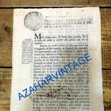 Documentos antiguos: SEVILLA, 1762, ORDEN SOBRE ESPAÑOLES PROFUGOS A PORTUGAL , CONSIDERADOS TRAIDORES, 2 HOJAS. Lote 91434280