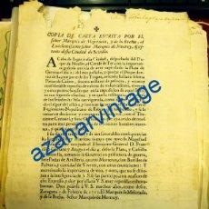 Documentos antiguos: 1711, GUERRA DE SUCESION, CARTA DEL MARQUES DE MEJORADA COMUNICANDO FIN ASEDIO GERONA Y MORELLA,. Lote 91736510