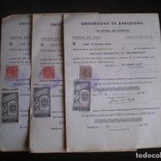 Documentos antiguos: DOCUMENTO DE CALIFICACIONES UNIVERSITARIAS, BARCELONA, LLEVAN SELLO TIMBRE O FISCAL. Lote 91983835