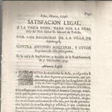 Documentos antiguos: PALAFURGELL REGIDORES DE LA VILA DE CONTRA ANTONIO MALLERIA Y OTROS GUERRA SUCCESIÓ 1709. Lote 92325090