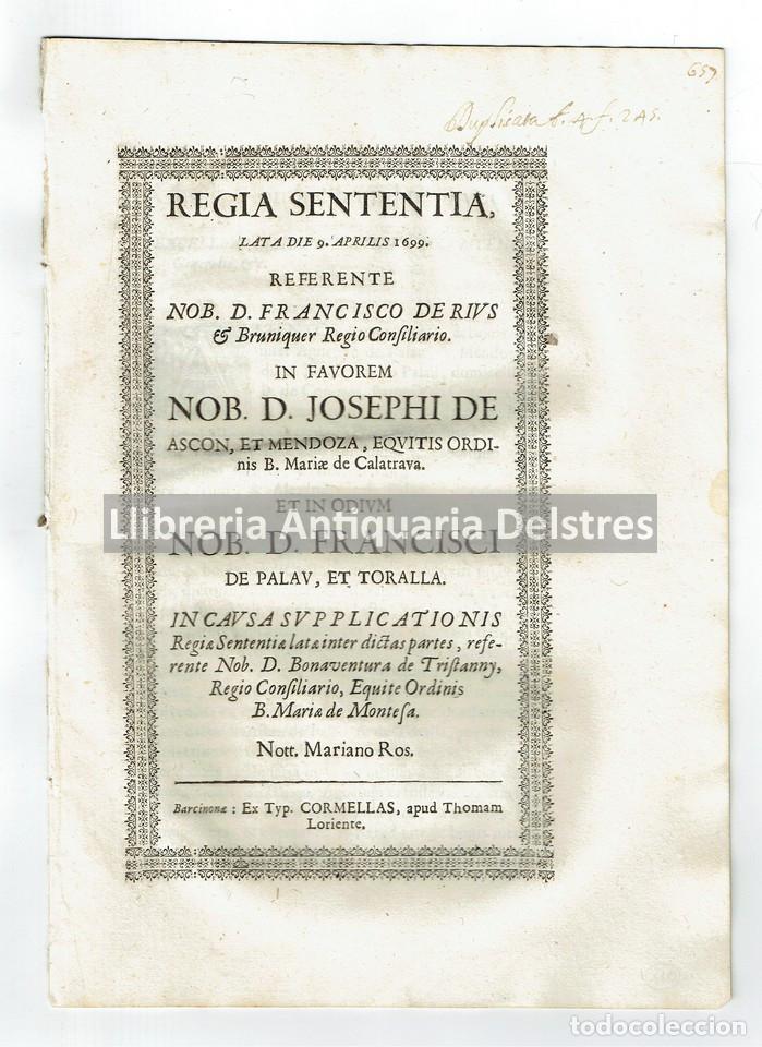 1699 REGIA SENTENTIA LATA DIE 9 APRILIS