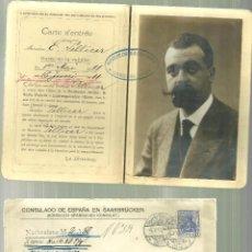 Documentos antiguos: 3795.- PASAPORTE-CERTIFICADO NACIONALIDAD-CONSULADO ESPAÑOL EN SAARBRÜCKEN-ALEMANIA. Lote 92919575