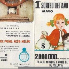 Documentos antiguos: == FF132 - 1ER SORTEO DEL AÑO 1966 - CAJA DE AHORROS Y MONTE DE PIEDAD DE VALENCIA. Lote 93879255