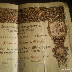 Documentos antiguos: DIPLOMA O TITULO DE LA COOPERATIVA DE CASAS BARATAS, VALENCIA, 1947. Lote 94100250
