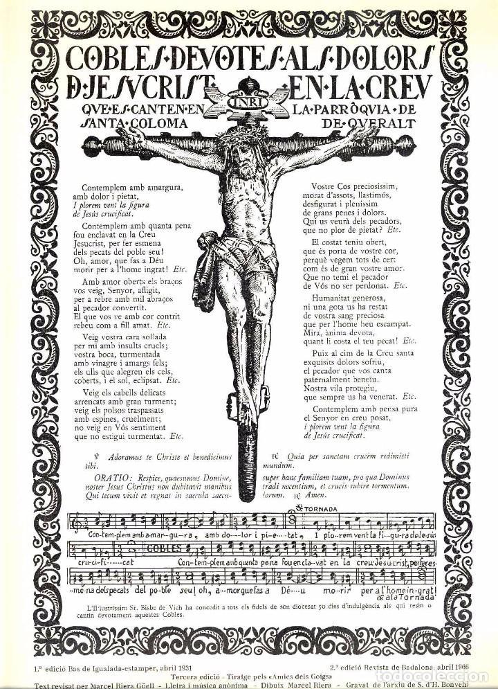 GOIGS COBLES DEVOTES ALS DOLORS DE JESUCRIST EN LA CREU, PARROQUIA DE SANTA COLOMA DE QUERALT (Coleccionismo - Documentos - Otros documentos)
