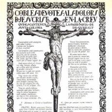 Documentos antiguos: GOIGS COBLES DEVOTES ALS DOLORS DE JESUCRIST EN LA CREU, PARROQUIA DE SANTA COLOMA DE QUERALT. Lote 94107235