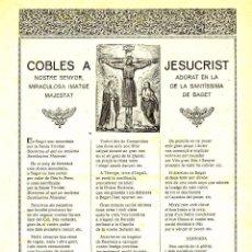 Documentos antiguos: GOIGS: COBLES A JESUCRIST, ADORAT EN LA MIRACULOSA MAJESTAT DE BEGET. Lote 94111050