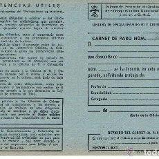 Documentos antiguos: CARNET DE PARO FALANGE ESPAÑOLA AÑOS 40 SIN RELLENAR NUEVO ANTIGUO . Lote 94114010