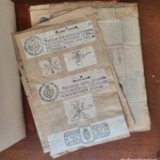 Documentos antiguos: CARTERA DE PIEL CON DOCUMENTOS Y GRABADOS SIGLO 19. Lote 94134660