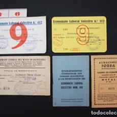 Documentos antiguos: 5 DOCUMENTOS ECONOMATO LABORAL COLECTIVO 412 BARCELONA, CARNET, TITULO, AÑOS 60 VER DESCRIPOCION. Lote 94225005