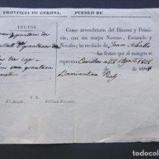Documentos antiguos: PUEBLO DE GIRONA / GERONA AÑO 1838 / CURIOSO DOCUMENTO DE PAGO DE DIEZMOS Y PRIMICIAS. Lote 94251860