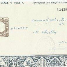 Documentos antiguos: PAGOS AL ESTADO. UNA PESETA.. Lote 94493234