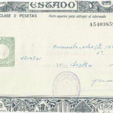 Documentos antiguos: PAGOS AL ESTADO. 2 PESETA.. Lote 94493318