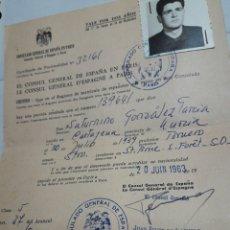 Documentos antiguos: PERMISO ANTIGUO DE CONSULADO TEMPORAL AÑO 1963. Lote 94623038