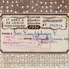 Documentos antiguos: CARNET RACIONAMIENTO GREMIO PAN EN BARCELONA - AÑO 1951 - 32 KGS AL TRIMESTRE -PANADERIA JUAN SOLÉ. Lote 94749203